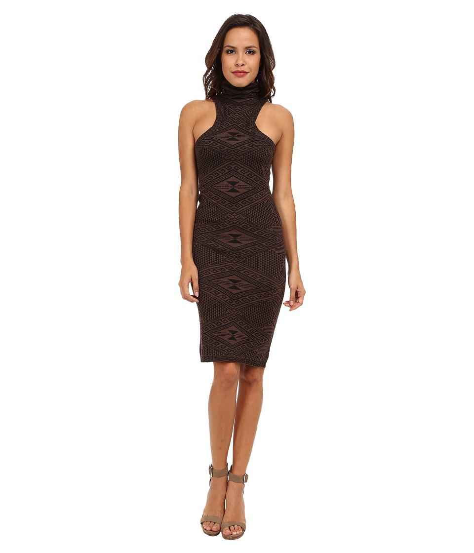 Rachel Pally - Turtleneck Mid-Length Dress (Brown Intarsia) Women
