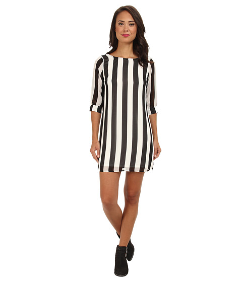 Brigitte Bailey - Caitlin Stripe Shift Dress with Bow Back (Off White/Black) Women's Dress