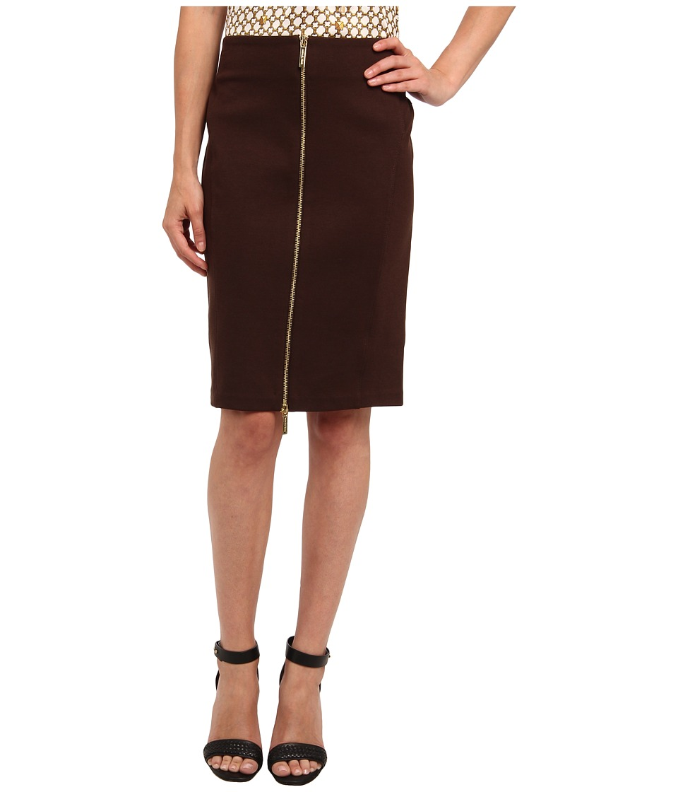 MICHAEL Michael Kors - Petite Zip Seamed Skirt (Chocolate) Women's Skirt