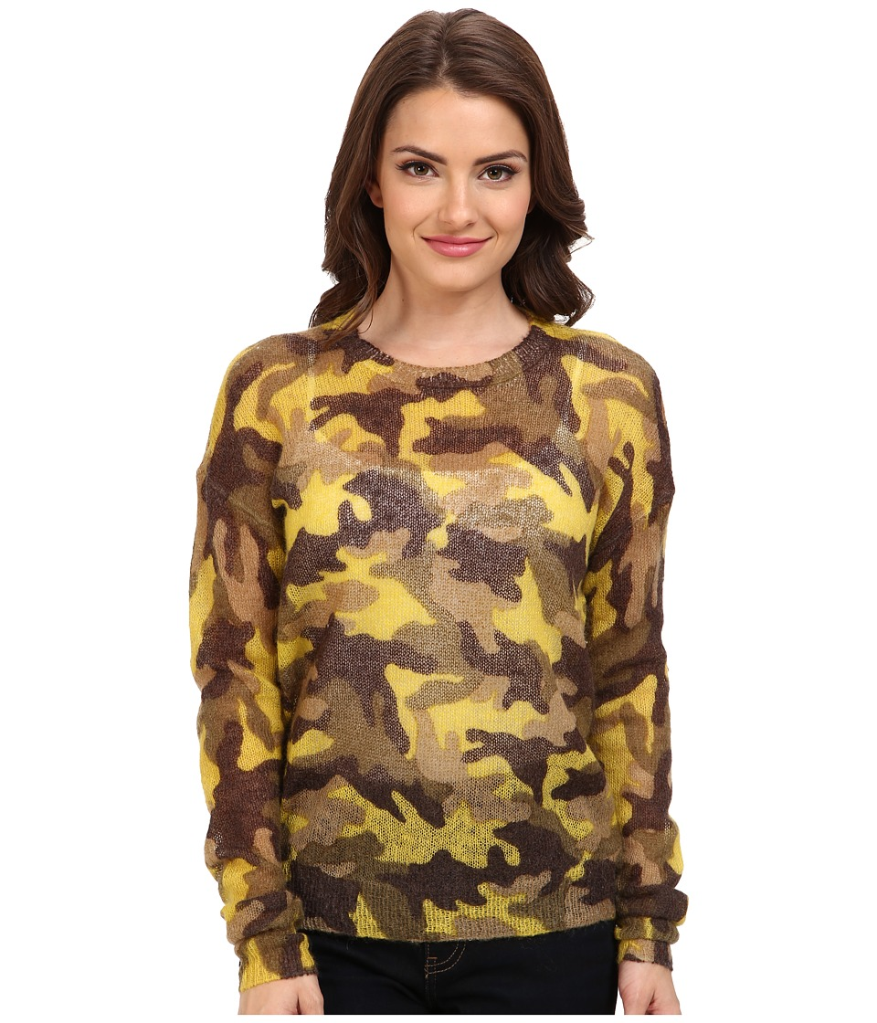 MICHAEL Michael Kors - Petite Long Sleeve Camouflage Mohair Sweater (Acid Lemon) Women's Sweater