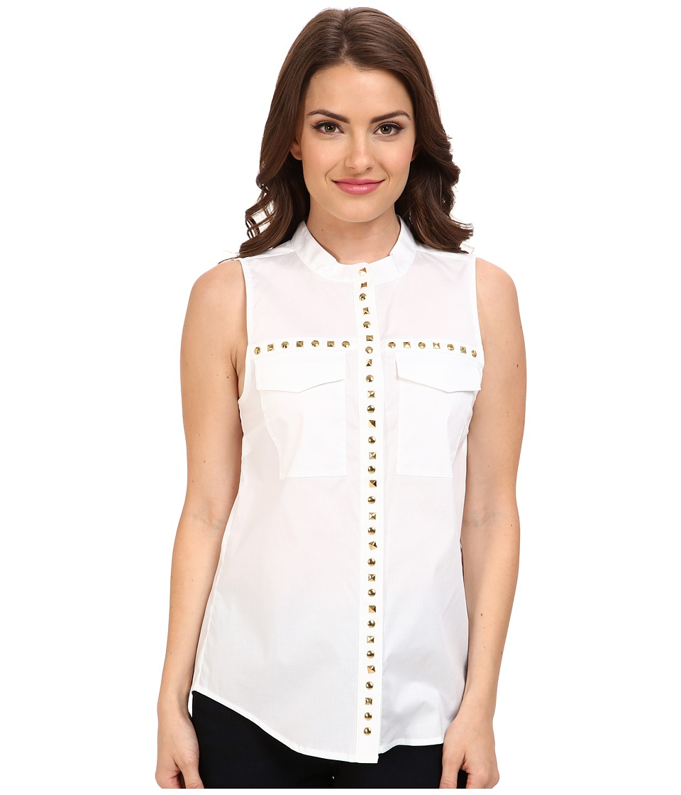 MICHAEL Michael Kors - Petite Embellished Pocket Tank (White) Women's Blouse