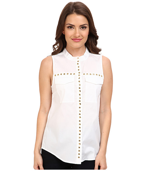 MICHAEL Michael Kors - Petite Embellished Pocket Tank (White) Women