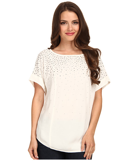 MICHAEL Michael Kors - Petite Scatter Stud Top (Ecru) Women's Clothing