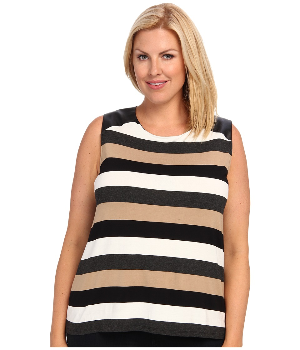Vince Camuto Plus - Plus Size S/L Chalk Stripe Top W/ Pleather Shoulder (New Camel) Women