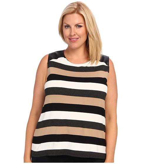 Vince Camuto Plus - Plus Size S/L Chalk Stripe Top W/ Pleather Shoulder (New Camel) Women
