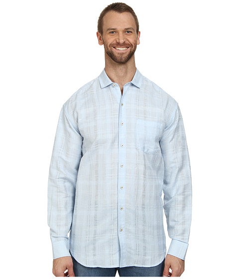 Tommy Bahama Big & Tall - Big Tall Squarely There L/S Button Up (Key West Blue) Men