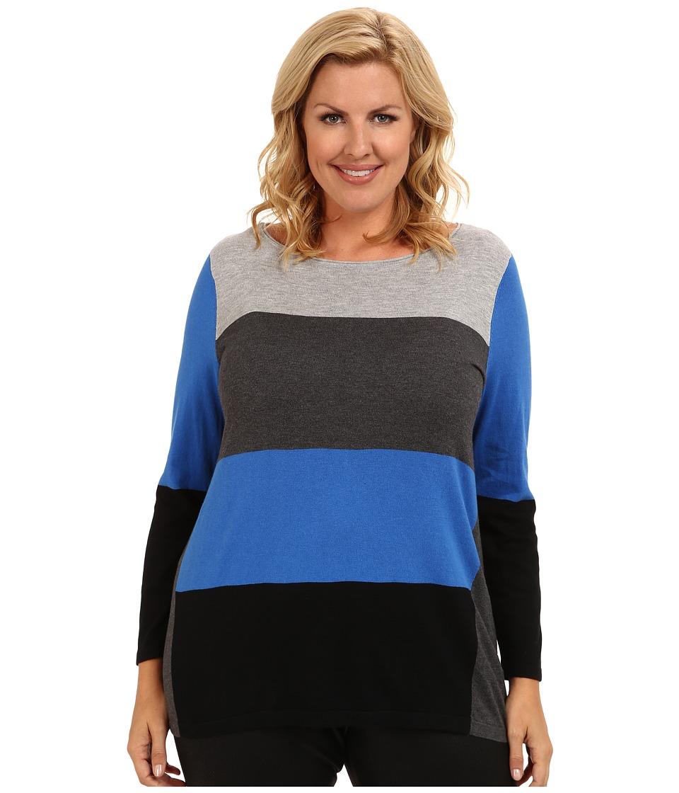 Vince Camuto Plus - Plus Size L/S Colorblock Crewneck Sweater (Light Heather Grey) Women's Sweater
