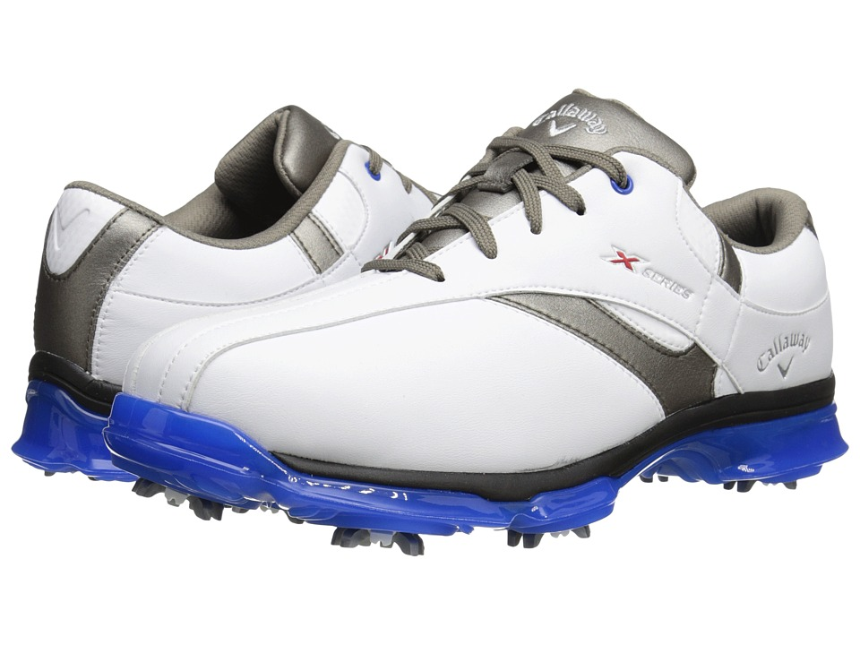 Callaway - X Nitro (White/Grey/Blue) Men's Golf Shoes