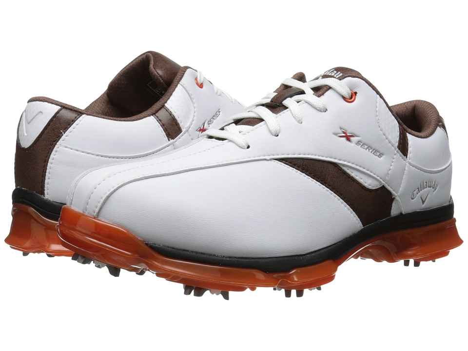 Callaway - X Nitro (White/Brown/Orange) Men's Golf Shoes
