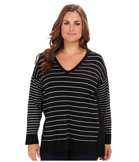 Vince Camuto Plus - Plus Size L/S Mixed Stripe V-Neck Tunic (Rich Black) Women