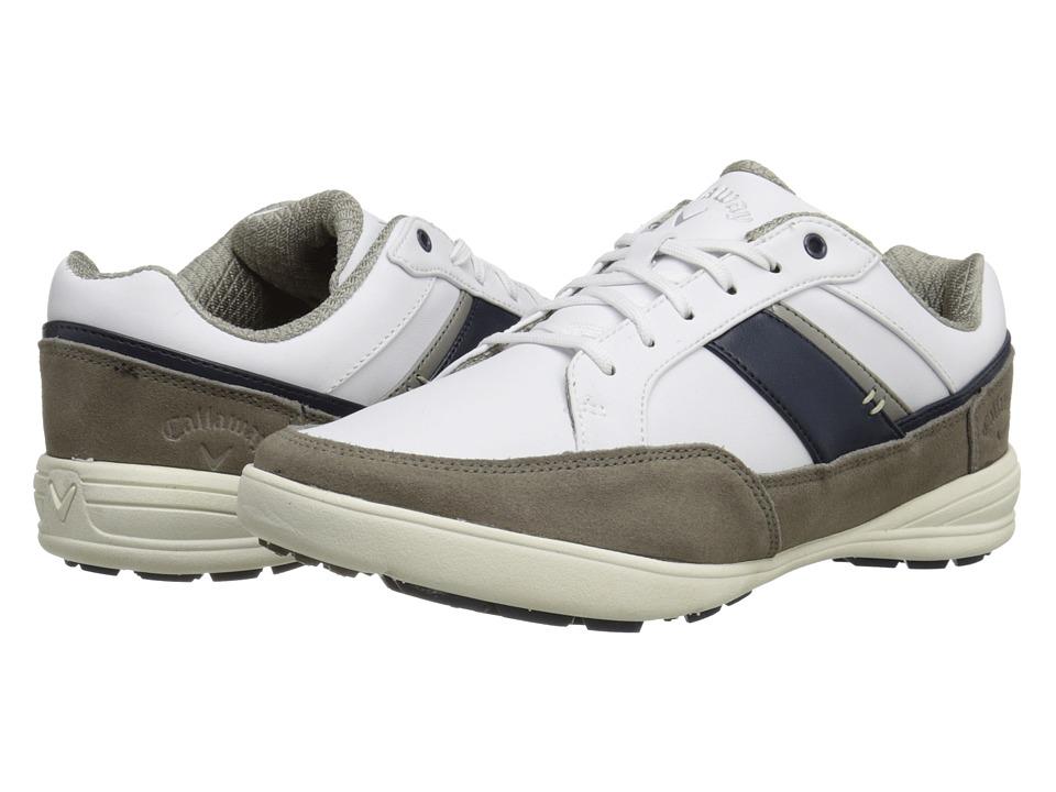 Callaway - Del Mar Zephyr (White/Grey/Navy) Men's Golf Shoes