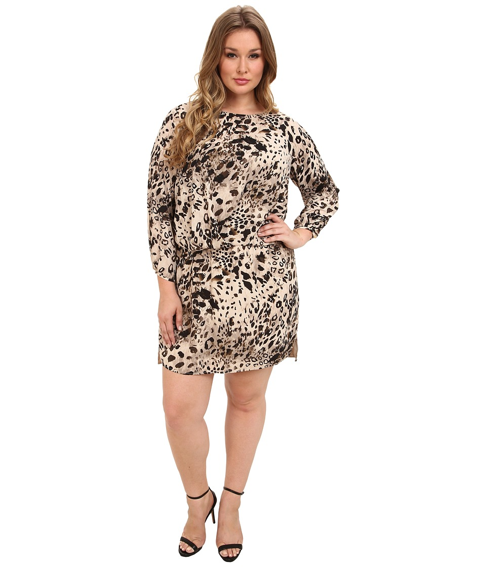 Vince Camuto Specialty Size - Plus Size L/S Animal Fresco Center Fold Dress (Rich Black) Women's Dress