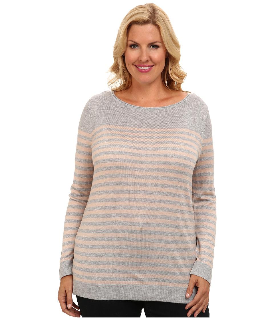 Vince Camuto Plus - Plus Size L/S Stripe Crewneck Sweater (Light Heather Grey) Women