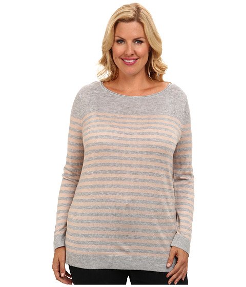 Vince Camuto Plus - Plus Size L/S Stripe Crewneck Sweater (Light Heather Grey) Women