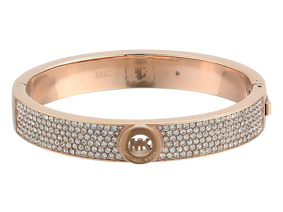 Michael Kors - MK Fulton Pave Hinge Bangle (Rose Gold) Bracelet