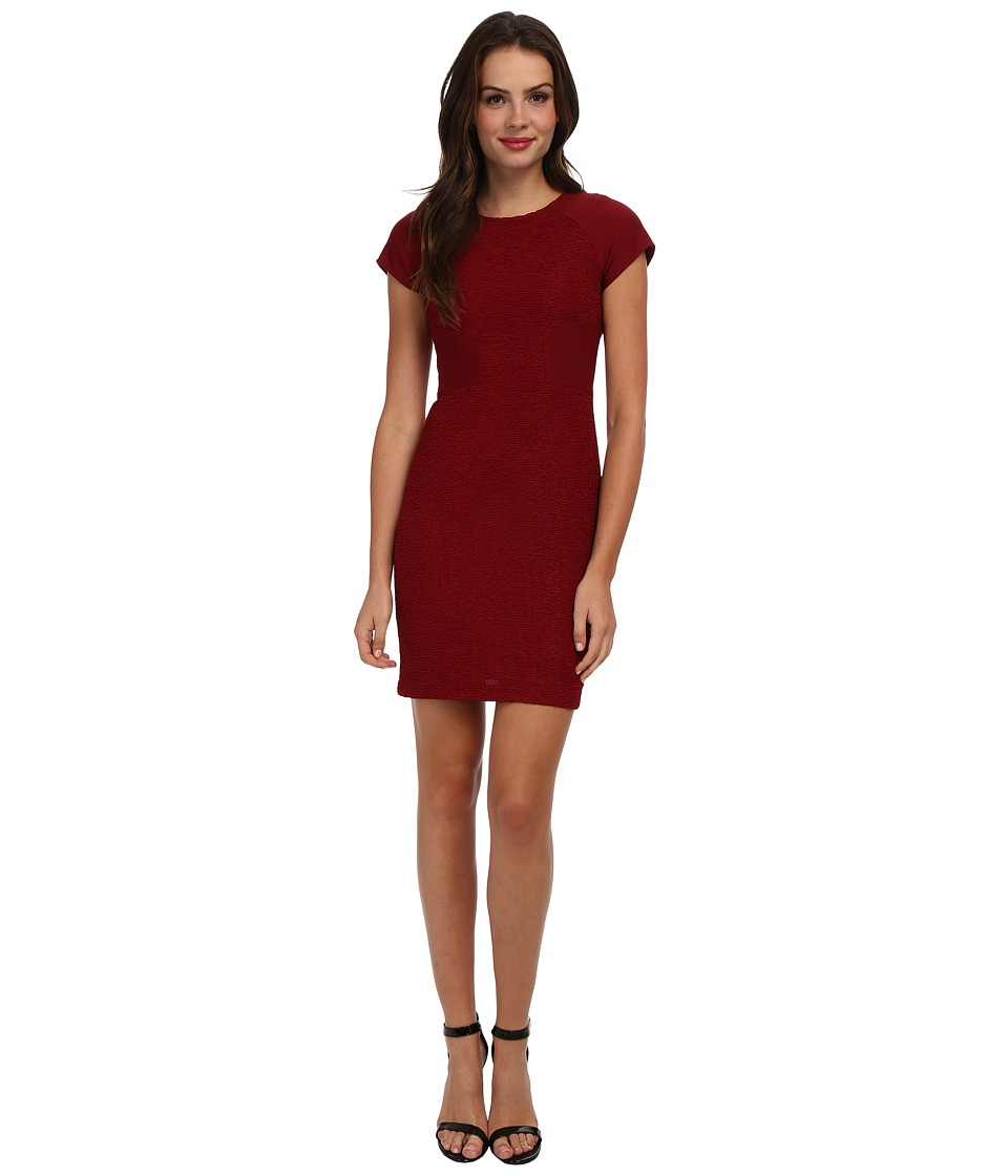 Christin Michaels - Cap Sleeve Fitted Dress (Burgandy) Women