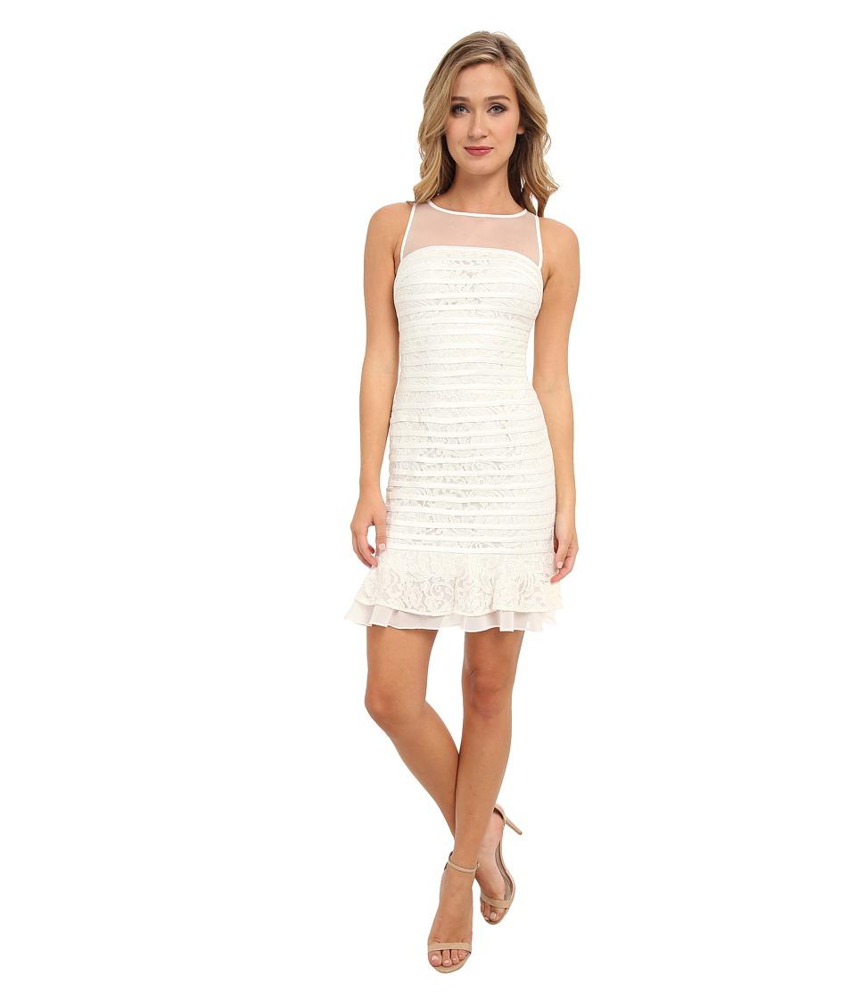 Christin Michaels - Sleeveless Lace Dress with Ruffle Detail (Ivory) Women