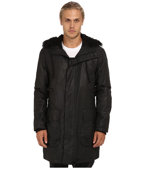 HELMUT LANG - Leather Effect Coated Parka (Black) Men's Coat