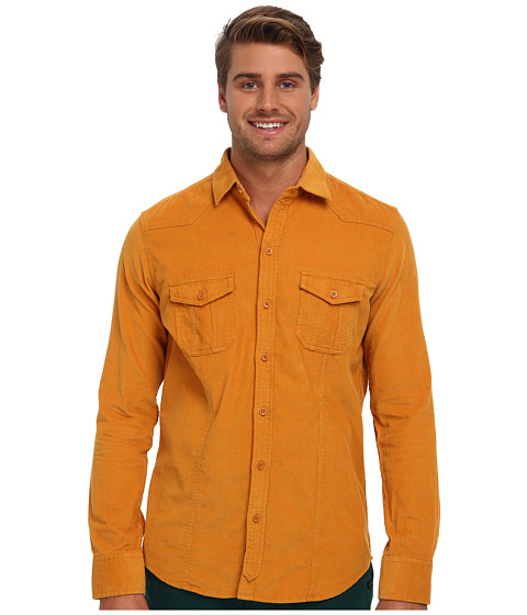 Mavi Jeans - Velvet Shirt (Dark Mustard) Men's Long Sleeve Button Up