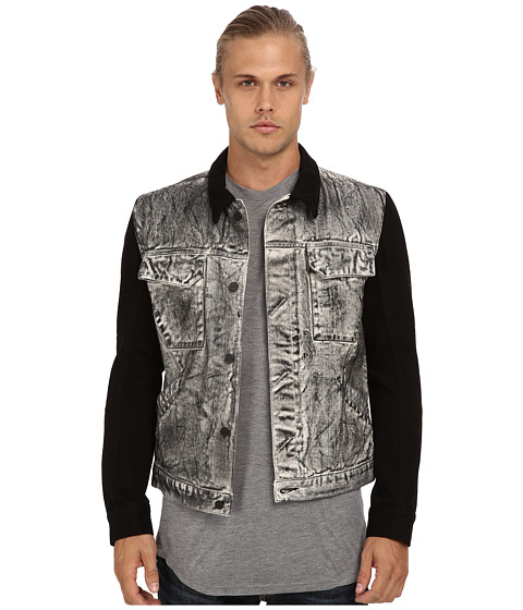 HELMUT LANG - Acid Wash Combo Jean Jacket (Grey) Men's Coat
