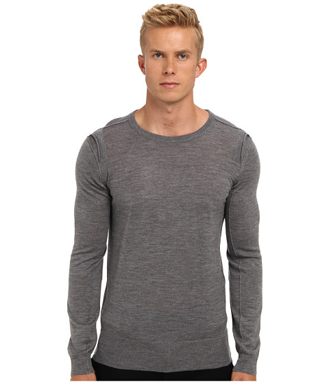 HELMUT LANG - Fine Gauge Merino Crewneck Sweater (Medium Heather Grey) Men's Sweater