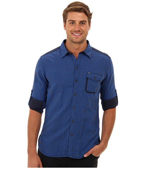 Mavi Jeans - Pocket Detailed Shirt (Shinny Blue Checked) Men's Long Sleeve Button Up