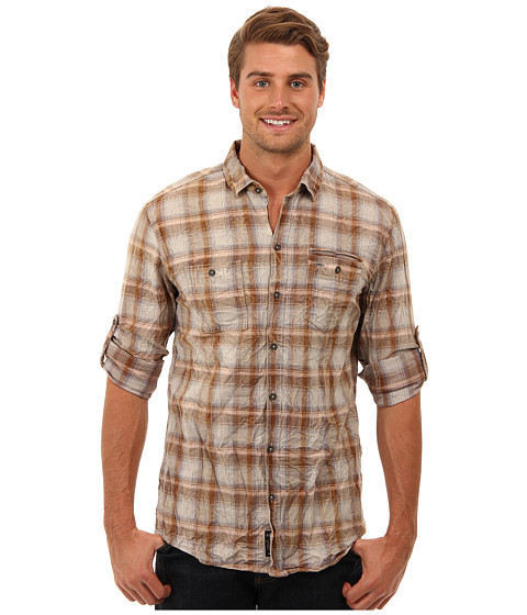 Mavi Jeans - Plaid Shirt (Dark Sand Checked) Men's Long Sleeve Button Up