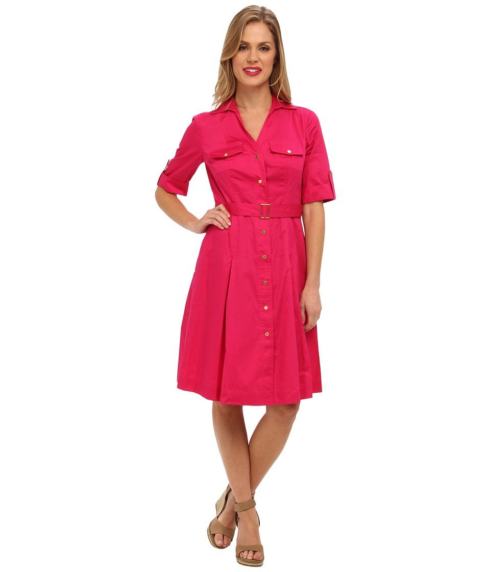 Jones New York Belted Shirt Dress Womens Dress (Pink)