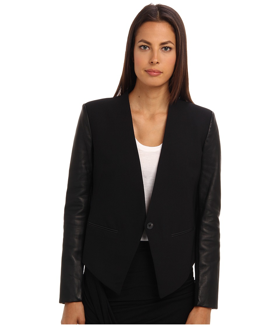 HELMUT LANG - Cropped Tuxedo Jacket (Black) Women's Jacket