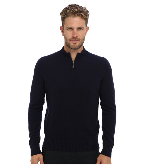 Culture Phit - 100% Cashmere Alex Mockneck Pullover (Navy Combo) Men's Long Sleeve Pullover