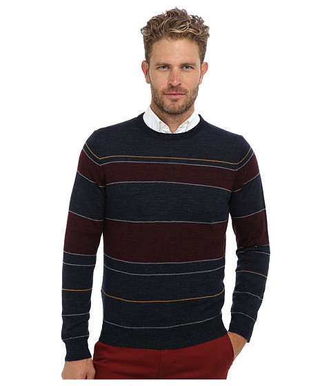 Culture Phit - 100% Merino Multi Stripe Crew Sweater (Night Marl Combo) Men's Sweater
