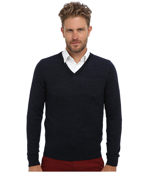 Culture Phit - 100% Merino Skipper V-Neck Sweater (Night Marl Combo) Men