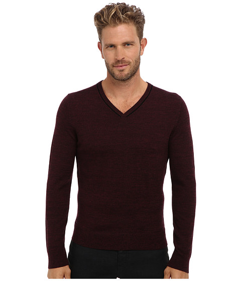 Culture Phit - 100% Merino Skipper V-Neck Sweater (Wine Marl Combo) Men's Sweater