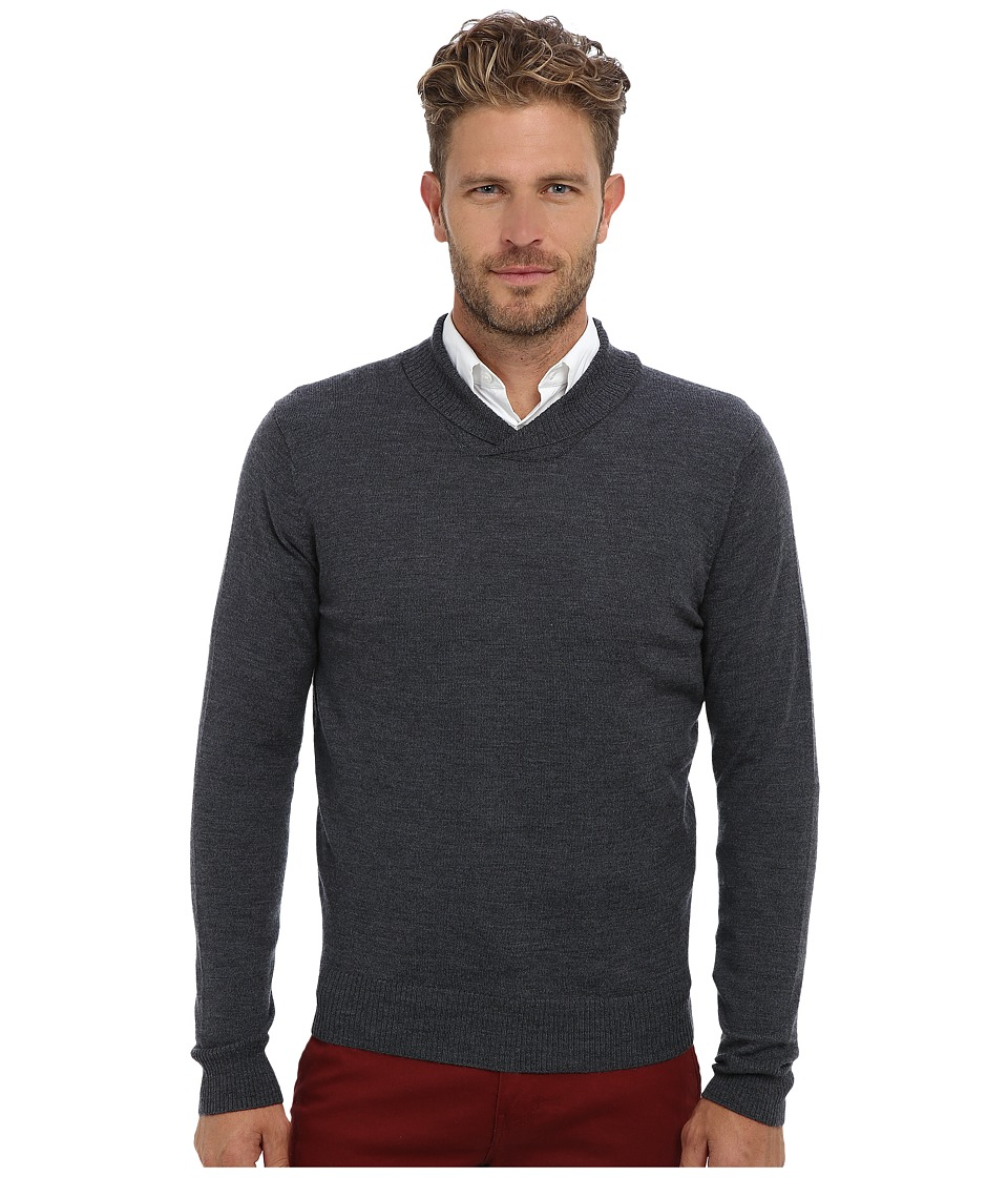 Culture Phit - 100% Merino High Shawl Crew Sweater (Charcoal) Men