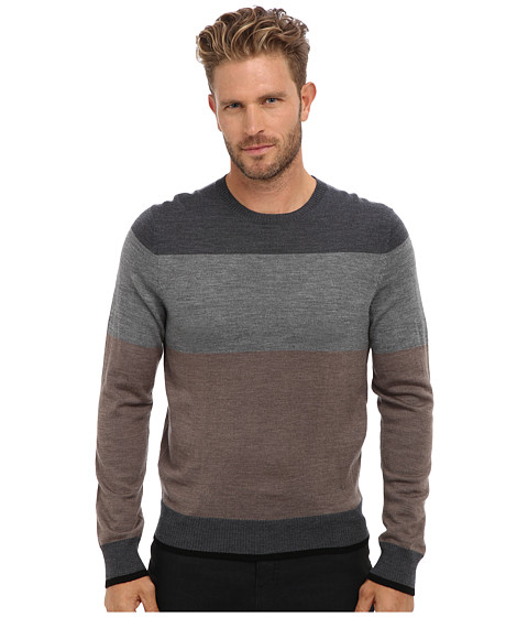 Culture Phit - 100% Merino Color Block Crew Sweater (Taupe Combo) Men