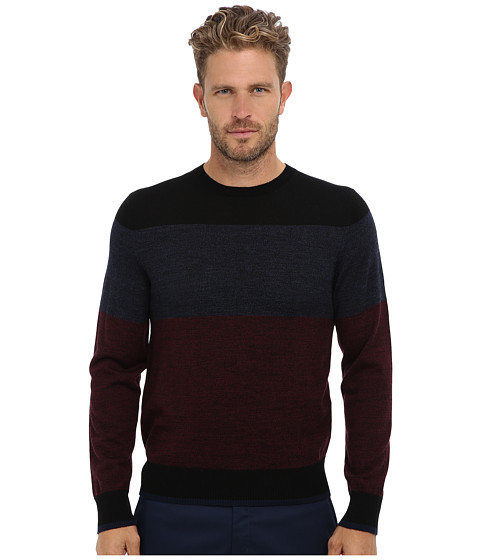 Culture Phit - 100% Merino Color Block Crew Sweater (Wine Marl Combo) Men's Sweater