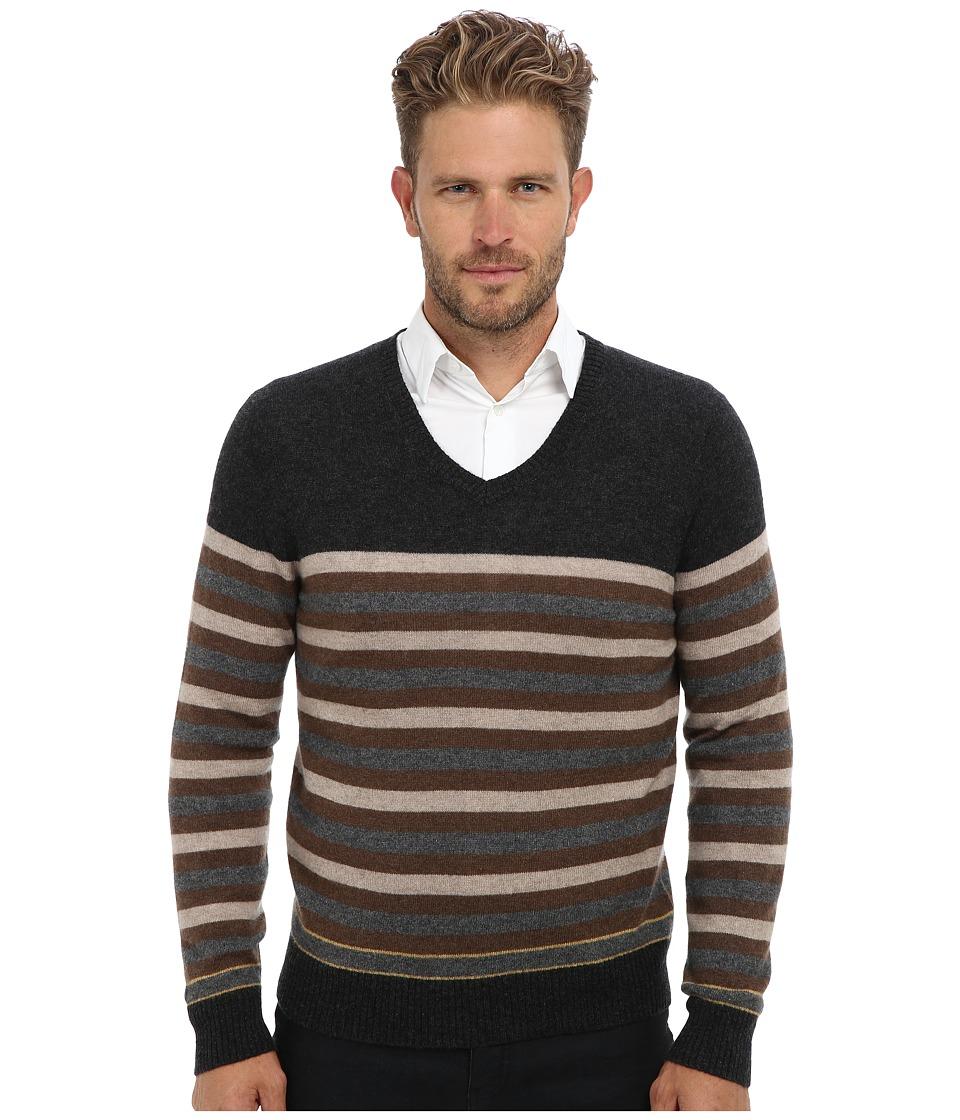 Culture Phit - 100% Cashmere Stripe V-Neck Sweater (Charcoal Combo) Men