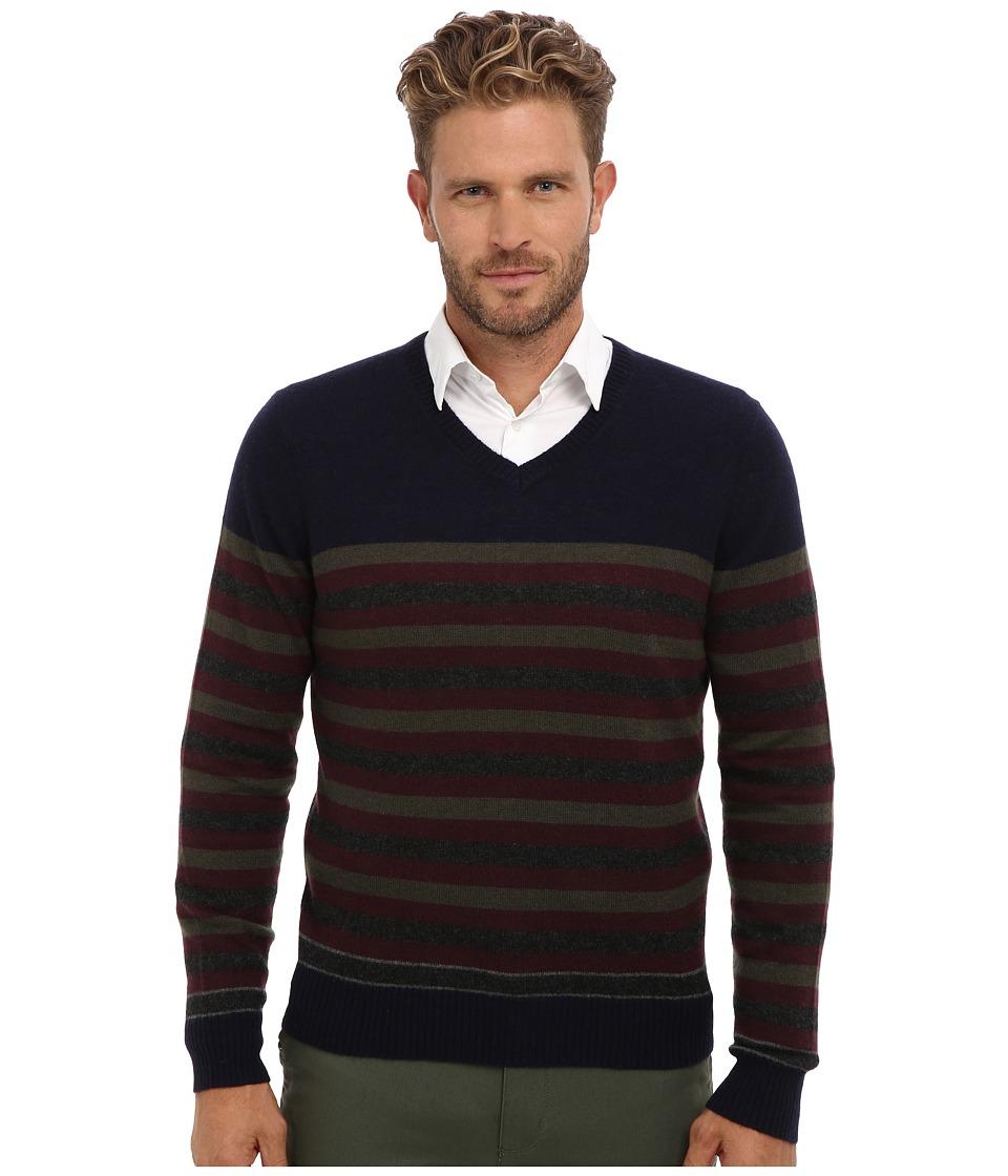 Culture Phit - 100% Cashmere Stripe V-Neck Sweater (Navy Combo) Men