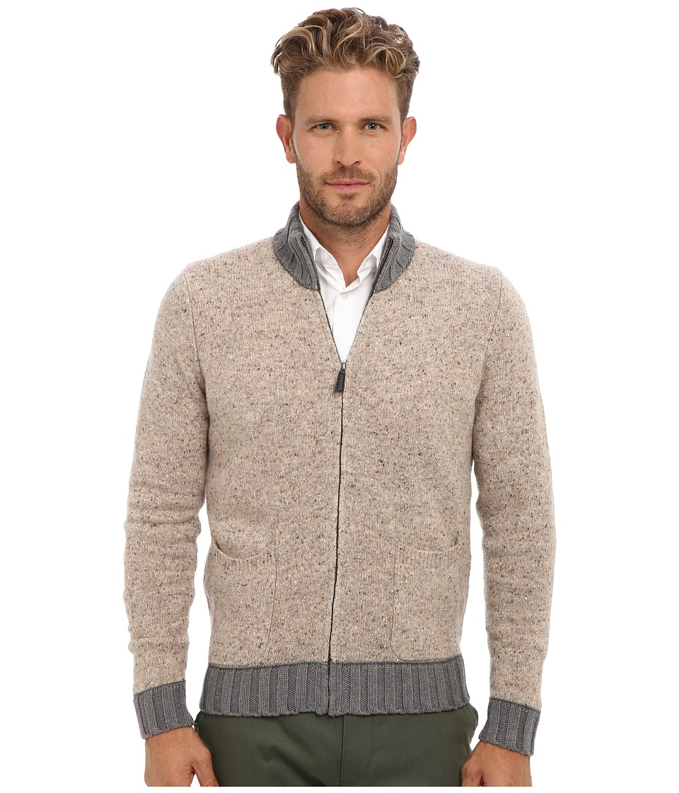 Culture Phit - 100% Merino Aaron Zip Up Cardigan (Vanilla Combo) Men