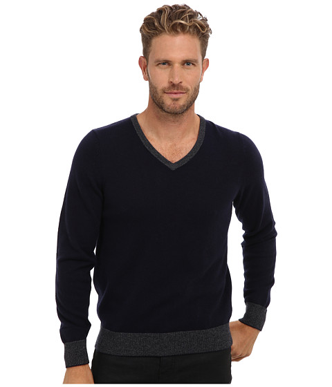 Culture Phit - 100% Cashmere David V-Neck Sweater (Navy Combo) Men's Sweater