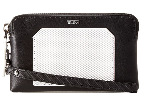 Tumi - Prism - Double Zip Leather Phone Case (Black/White) Cell Phone Case