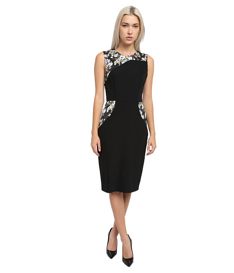 Vera Wang - Bi-Stretch Crepe Sheath Dress w/ Floral Insets (Black) Women