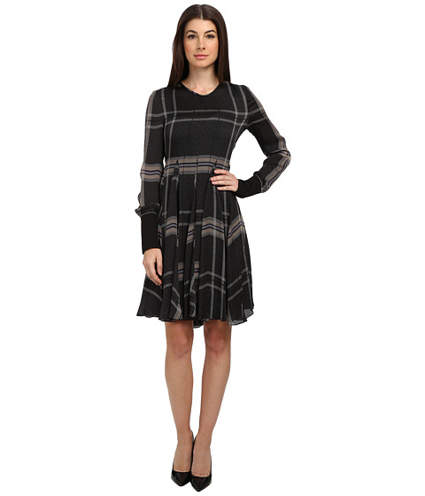 Vera Wang - Tartan Satin Chiffon L/S Trapeze Dress (Charcoal) Women