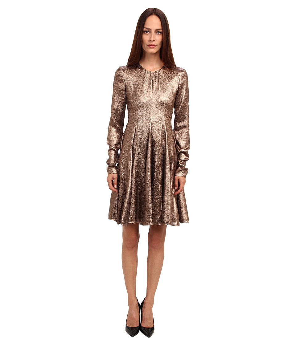 Vera Wang Stretch Lame L/S Trapeze Dress (Bronze) Women