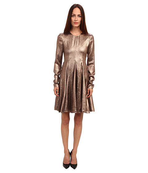 Vera Wang - Stretch Lame L/S Trapeze Dress (Bronze) Women's Dress