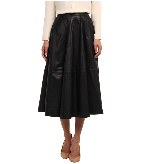 Vera Wang - Lambskin Leather Circle Skirt (Black) Women