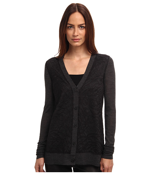 Vera Wang - L/S Wool Cardigan w/ Lace (Charcoal) Women's Sweater