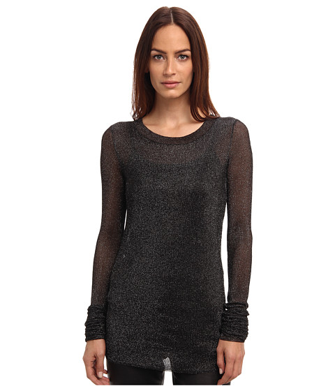 Vera Wang - L/S Metallic Ribbed Sweater (Black) Women's Long Sleeve Pullover