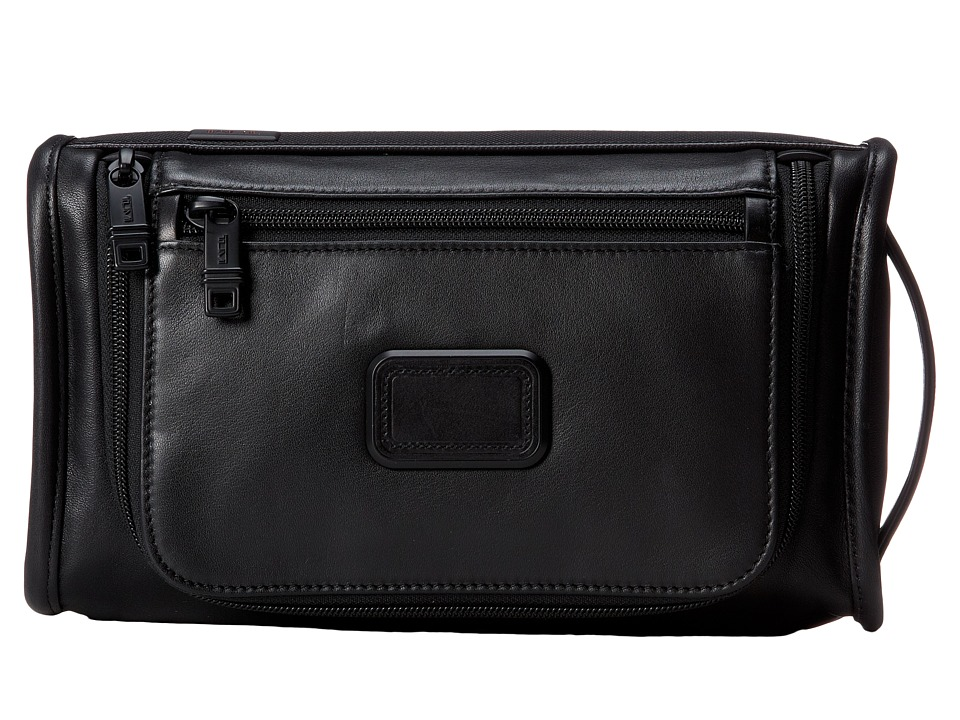 Tumi - Alpha 2 - Leather Travel Kit (Black) Travel Pouch