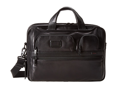 Tumi - Alpha 2 - Tumi T-Pass Medium Screen Laptop Slim Leather Brief (Black) Computer Bags